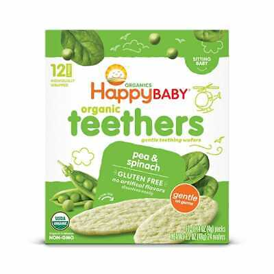 Happy Babby pea & Spinach Teething Wafers 1.7 oz Pack of 2