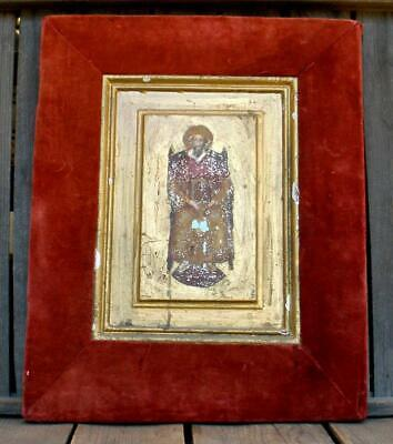 Antique Distressed Hand-Painted Greek or Russian Orthodox Byzantine Saint Icon