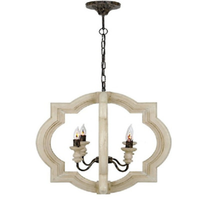 E14 Antique Wooden Chandelier Living Room Staicase Ceiling Pendant Lamp Fixtures