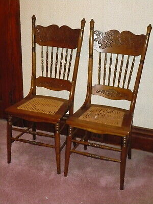 Antique Press Back Cane Seat Spindled Wooden Chair Pair~One Needs Recaned~Superb