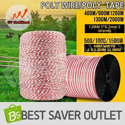 Multi Stainless Steel Polytape Roll Electric Fence Energiser Polywire Insulator