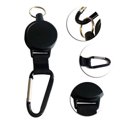 Nylon Rope Retractable Pull Key Ring Chain Belt Clip Reel Recoil Extends To 60cm