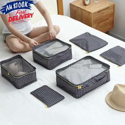 6/7pcs Travel Packing Cubes Luggage Organiser Clothes Suitcase Storage Bag Pouch