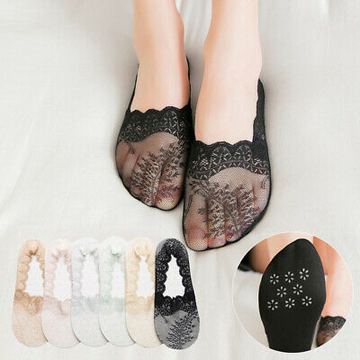 Women Summer No Show Invisible Boat Socks Low Cut Mesh Lace Hosiery Socks