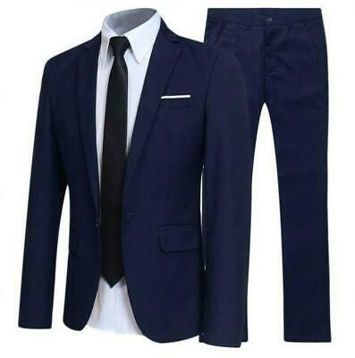 Mens Long sleeve Work Professional Slim suit Blazer jackets pants 2 piece Formal