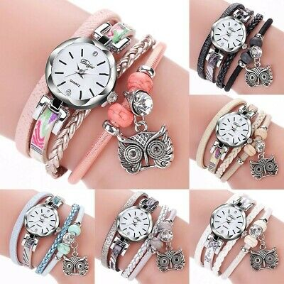 Women's Owl Pendant PU Leather Quartz Watch Wristwatch Ladies Crystal Bracelet