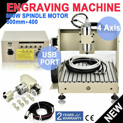 4 Axis USB CNC Router Engraver Wood Milling Cutting Engraving Machine 800W VFD