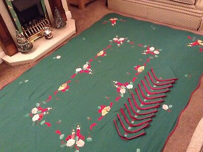 Hand Made Applique Christmas Dining Table set Extra Large Tablecloth 12 Napkins