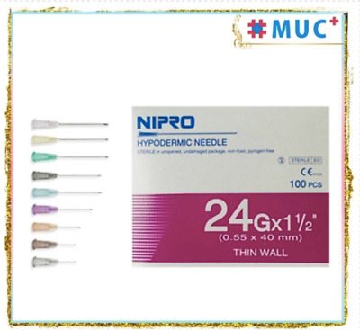 "100 Pcs NIPRO Hypodermic Dispensing Needle 24 g x 1.5"" Thin Wall 0.55 x 40 mm"