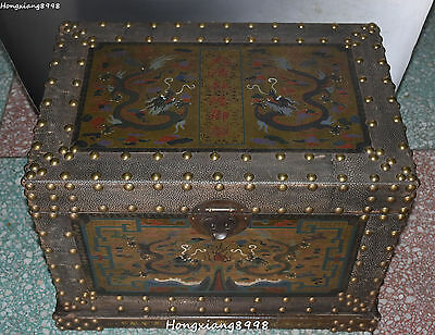 Old China Wood lacquerware Carving Two Dragon Loong Cupboard Jewelry Box Boxes