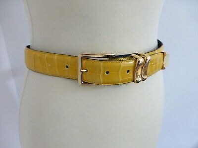 Vintage 90s stunning yellow Crocodile skin leather slim waist belt VGC