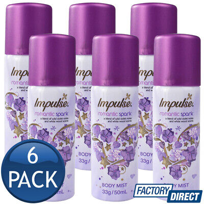 6 x IMPULSE BODY MIST SPRAY LADIES FRAGRANCE ROMANTIC SPARK MINI SCENT 33g/50mL