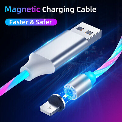 LED Flowing Magnetic USB Charger Charging Cable Cord For iPhone TYPE C Android