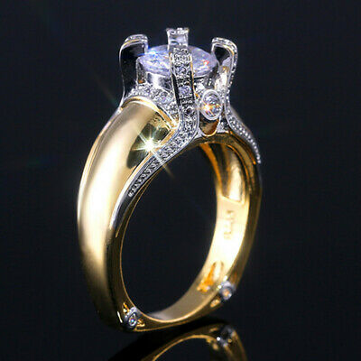 Fashion 18k Yellow Gold Plated Rings for Women Jewelry White Sapphire Size 6-10