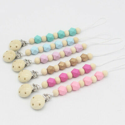 Dummy Pacifier Chain Clips Hexagon Round Wood Painting Beads Nipple Chain Holder