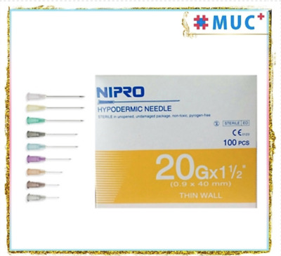 "100 Pcs NIPRO Hypodermic Dispensing Needle 20 g x 1.5"" Thin Wall 0.9 x 40 mm"