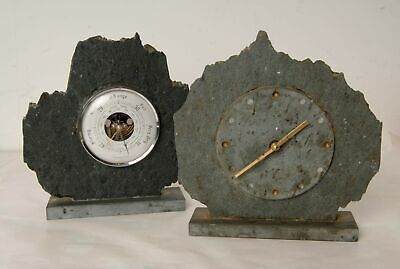 Natural Slate Clock and Barometer UNTESTED