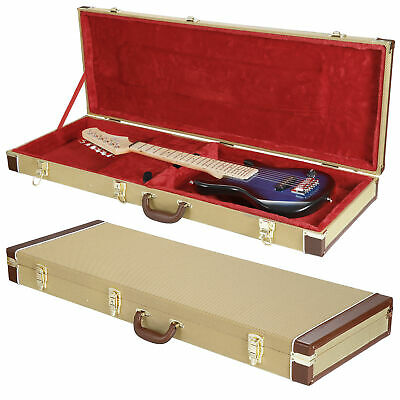 Tweed Hard Shell Guitar Case for Strat & Tele Guitars with Red Plush Interior