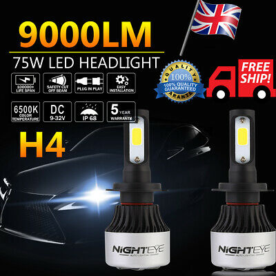 1 Pair White Nighteye 72W 9000LM H4 LED 6000K Canbus Car Headlight Bulbs