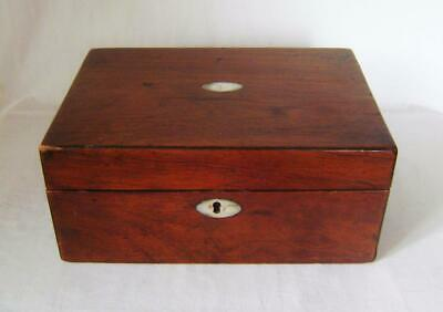 Antique Victorian Rosewood Jewellery Box for Restoration has MOP escutcheons