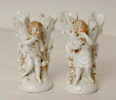 Pair of Vintage White Posy Vases Featuring a Boy and Girl DAMAGED