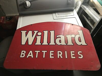 1951 WILLARD BATTERIES Double sided Metal Advertising sign Dated