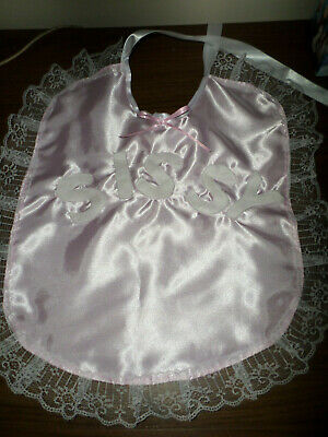Adult Baby Sissy Bib Pink Satin Sissy    White Lace  Satin Ties Plastic Backed