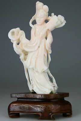 ANTIQUE CHINESE WHITE ANGEL SKIN CORAL STATUE FIGURE KWANYIN CARVED no red 19TH