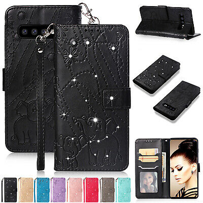 For Samsung S10 Plus S9 Plus S8 A70 M10 Case Bling Diamond Leather Wallet Cover
