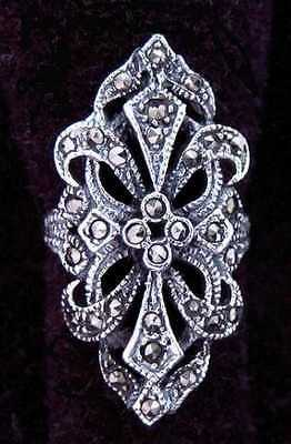 Long Medieval Ring with Marcasite Silver Gothic Jewelry - New