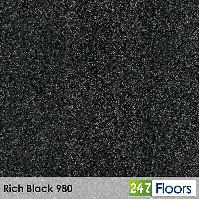 Rich Black 980 Moorland Carpet Flecked Twist Pile Action Felt Back 4m & 5m Wide