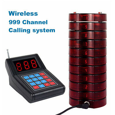 999CH Wireless Calling Paging System+10*Coaster Pager Fit Restaurant Bakery Shop