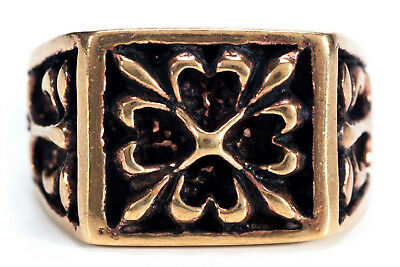 Werthor Medieval Seal Knight Ring Bronze Gothic Jewelry - New