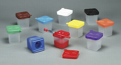 Creativity Street No-Spill Square Cup Plastic Paint Pot Set with Assorted