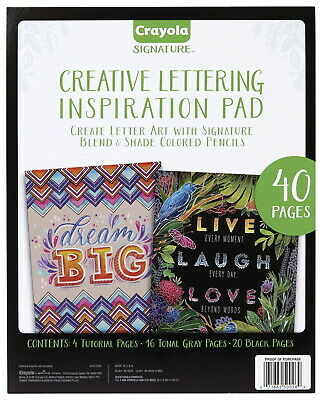 Crayola Creative Lettering Black Inspiration Pad, 10 x 8-1/2 inches, 40 Sheets