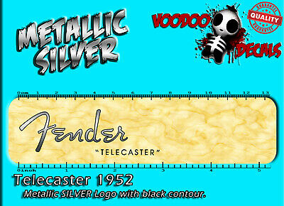 Fender Telecaster 1952 (METALLIC SILVER LOGO) Headstock Waterslide Decal