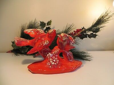 Vintage Red Bird Figurine Elwill Canadian Art Pottery Signed #754