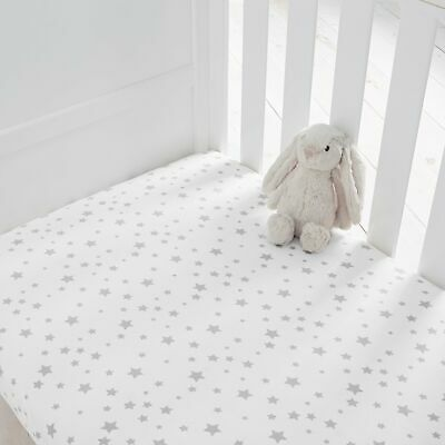 Silentnight Safe Nights Cot Bed Fitted Sheets, Grey Star, Pack of 2