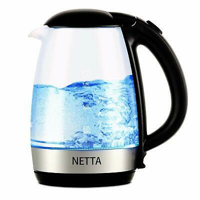 NETTA 1.7L Fast Boil Electric Glass Kettle 2200W Blue Illuminated LED Jug with