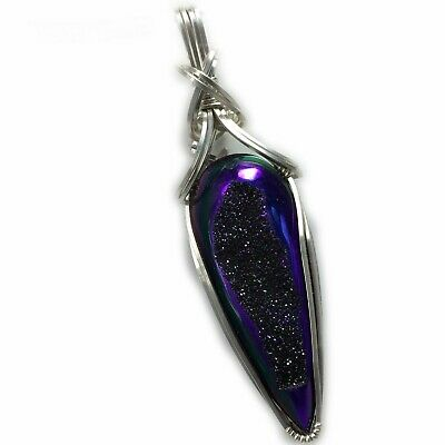 Titanium Druzy Pendant Sterling Silver Blue Purple Wire Wrapped Jewelry 2S3 Z