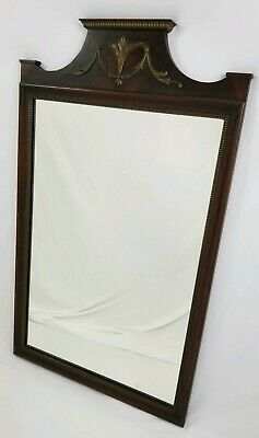 Vintage Neo-Classical Federal Carved Flame Mahogany Wall mirror Urn Crest 38""