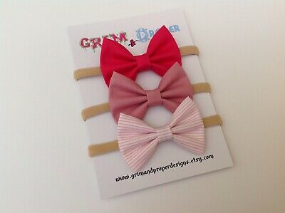 Nylon bow headband set newborn baby girls stretchy soft hot pink pastel striped