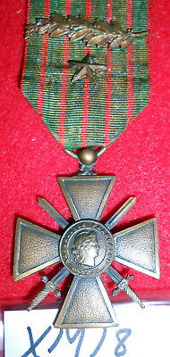 XM18 French WW1 Cross of War, Croix de Guerre, 1915, with star and palm leaf