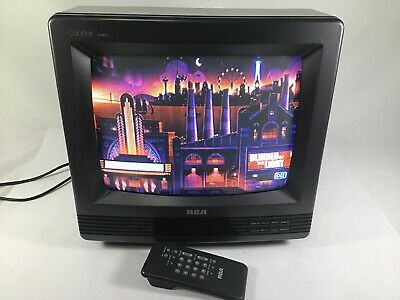 Vtg RCA ColorTrak Woodgrain Retro Gaming CRT Color TV W/Remote