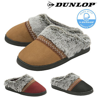 Dunlop Ladies Womens Slippers Slip On Comfy Mules Memory Foam Washable Sizes 3-8