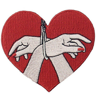 Embroidered Iron Sew On Patches transfers Appliques Badges love sex Hands Heart