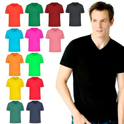 XXR Mens V neckShirt Short Sleeve Plain Pique Top Designer Style Fit T Shirt Tee