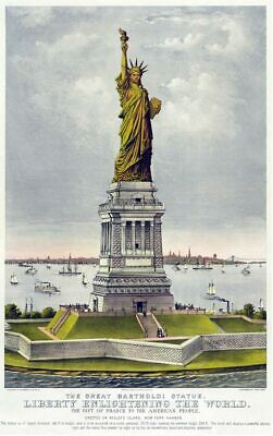 Statue of Liberty 1885 American Travel Poster Canvas Giclee Print 24x36 Inches