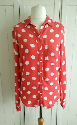 Pink / Oeange with white polka dot spots shirt/blouse - Topshop - size 8