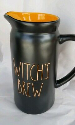 "RAE DUNN Halloween LL ""WITCH'S BREW"" Black 9"" Pitcher W/ Orange By Magenta NEW"